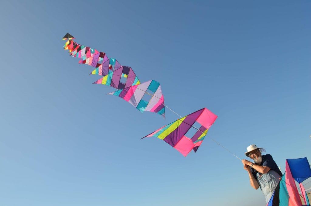Man flying a kite